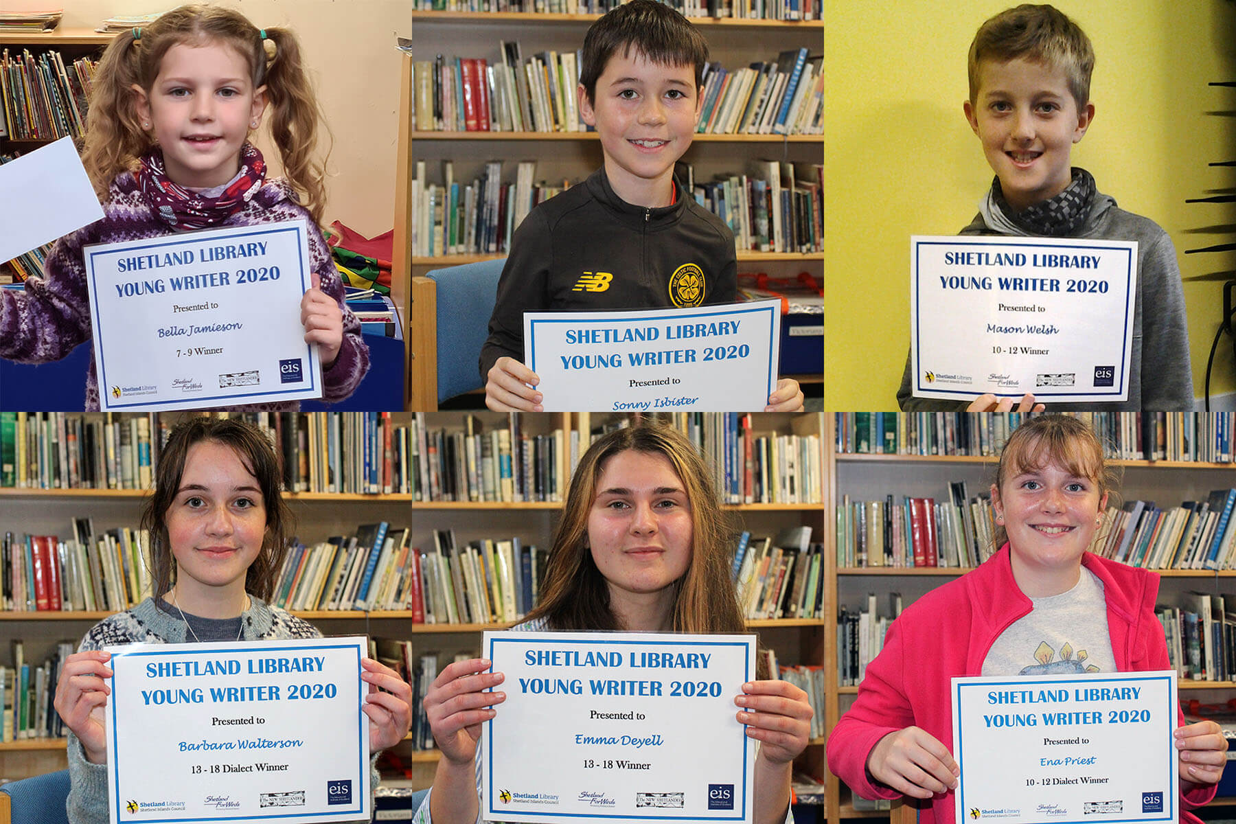 Winners of the 2020 Young Writer Competition organised by Shetland Library. Photo: SIC